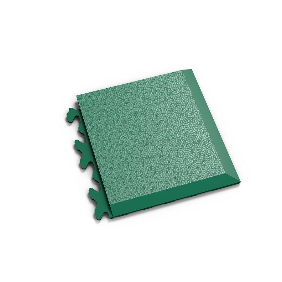 """Zelený plastový vinylový rohový nájezd """"typ D"""" Invisible 2039 (hadí kůže), Fortelock - délka 14,5 cm, šířka 14,5 cm a výška 0,67 cm"""