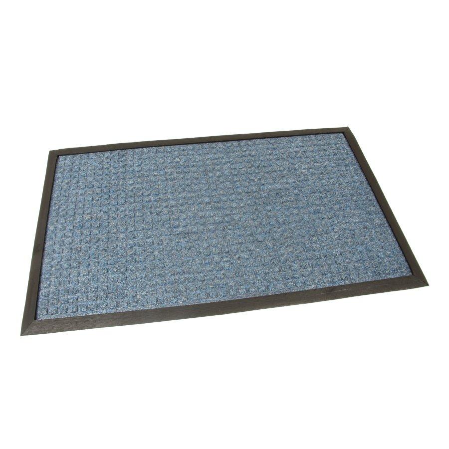 Modrá textilní vstupní venkovní čistící rohož Little Squares, FLOMA - délka 45 cm, šířka 75 cm a výška 1 cm