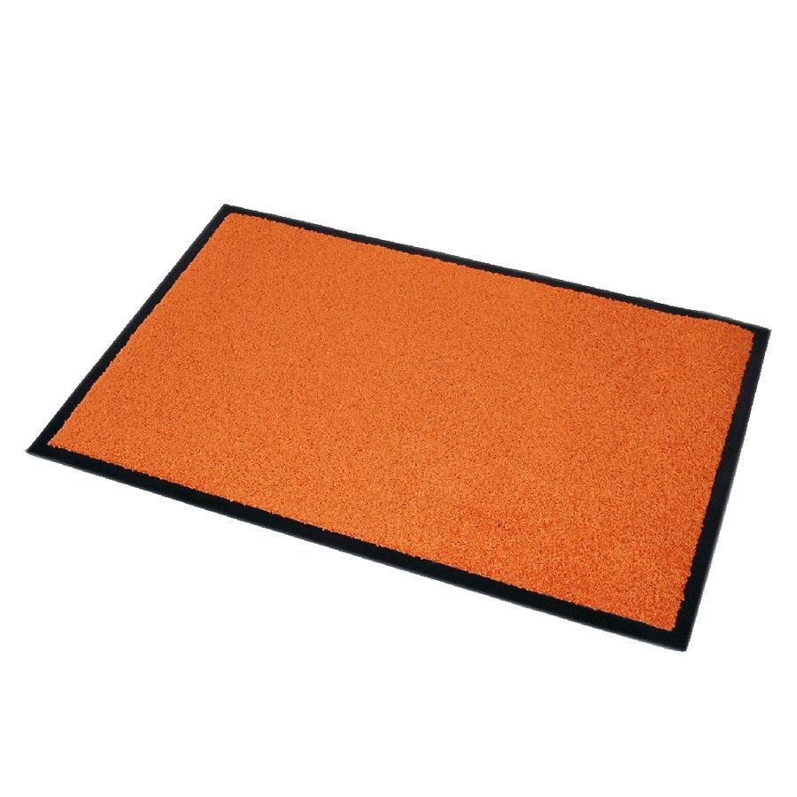 Oranžová textilní čistící vnitřní vstupní rohož Twister - délka 90 cm, šířka 60 cm a výška 0,7 cm