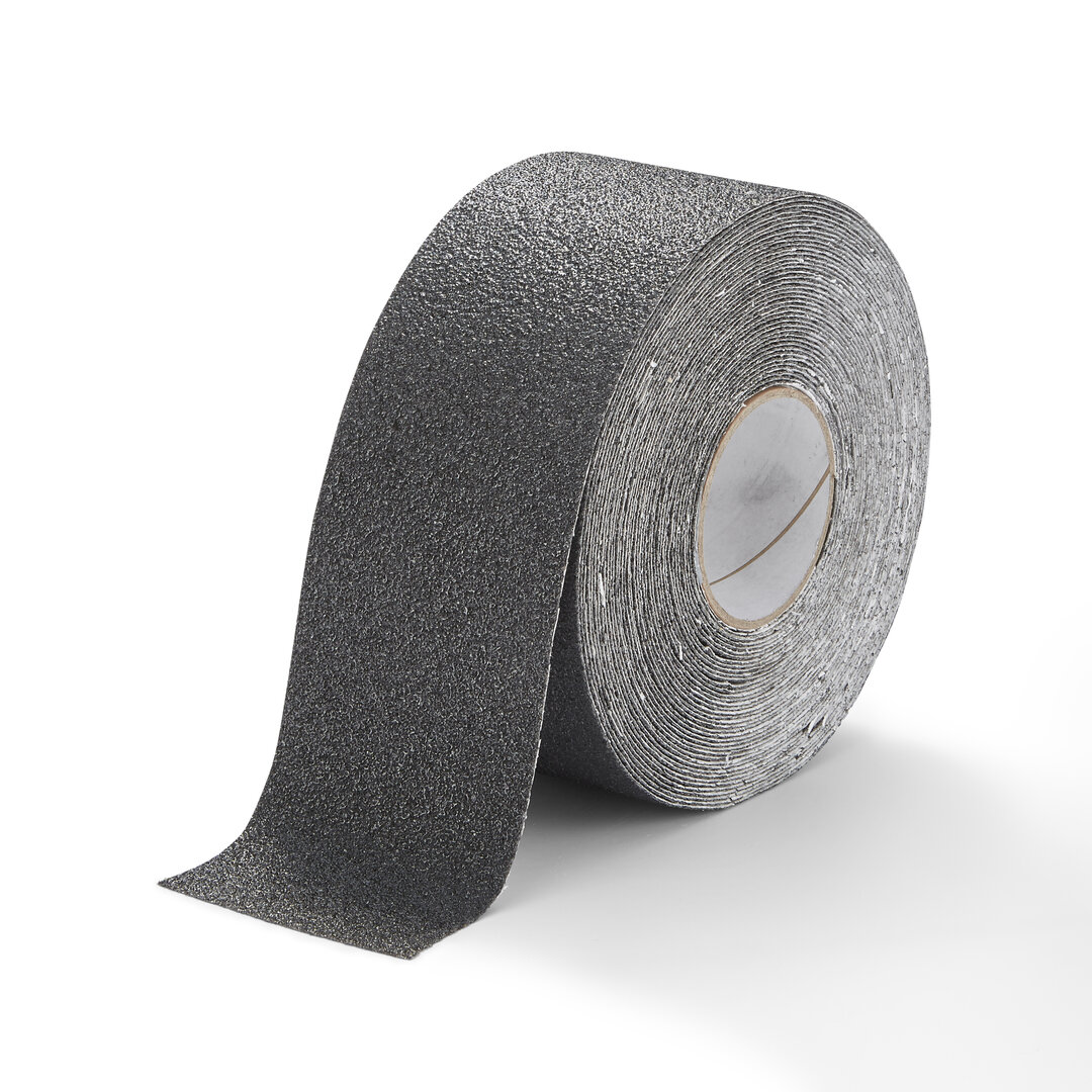 Černá korundová chemicky odolná podlahová páska Extra Super - 18,3 m x 10 cm