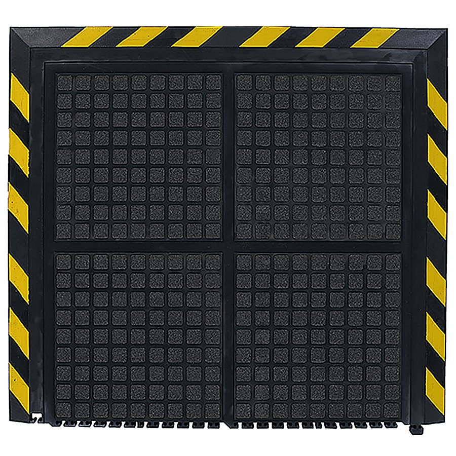 Černo-žlutá podlahová protiúnavová rohož (zakončení) - délka 101 cm, šířka 111 cm a výška 1,9 cm