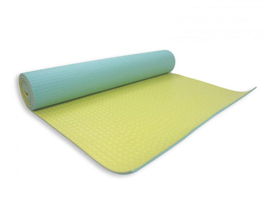 Žluto-modrá dvouvrstvá podložka na jógu - délka 173 cm, šířka 61 cm a výška 0,6 cm