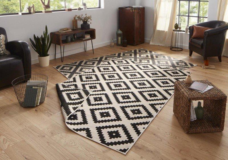 Černý oboustranný moderní koberec běhoun - délka 350 cm a šířka 80 cm