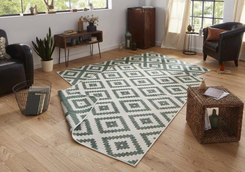 Zelený moderní koberec Twin-Wendeteppiche