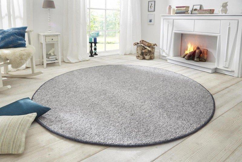 Šedý kusový moderní kulatý koberec Wolly