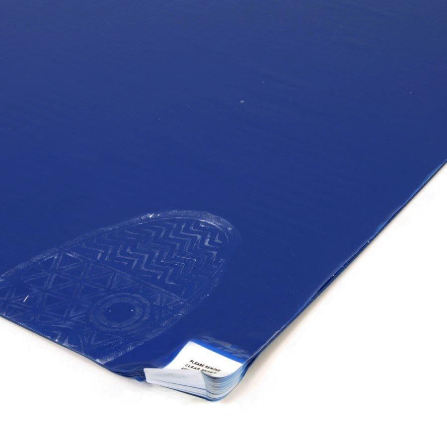 Modrá lepící dezinfekční antibakteriální dekontaminační rohož Antibacterial Sticky Mat, FLOMA - délka 45 cm a šířka 90 cm - 30 listů