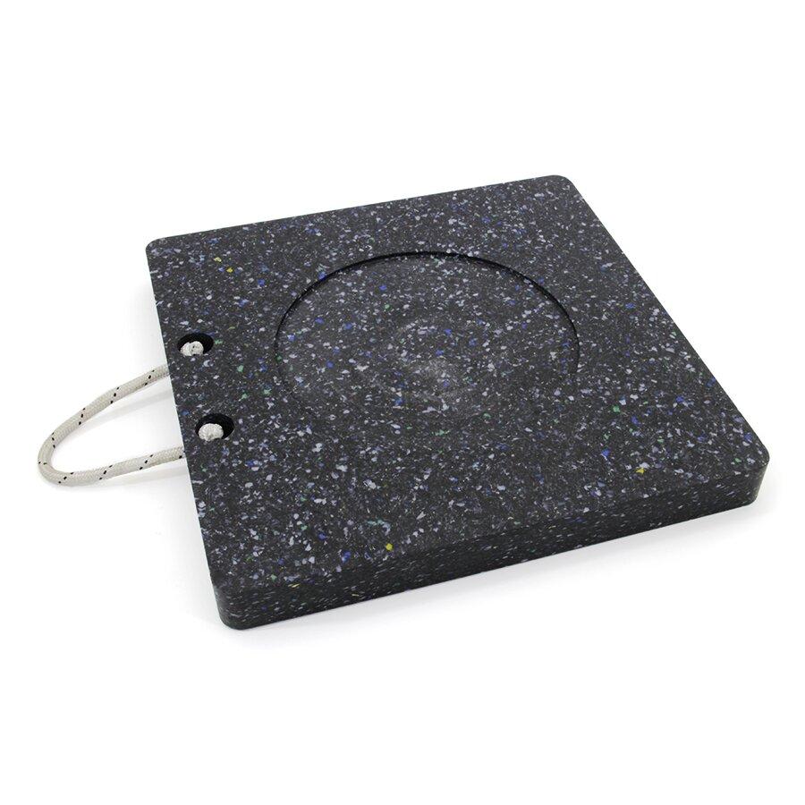 Černá plastová čtvercová podložka pod patku - 11,9 kg x 50 x 50 cm a tloušťka 5 cm