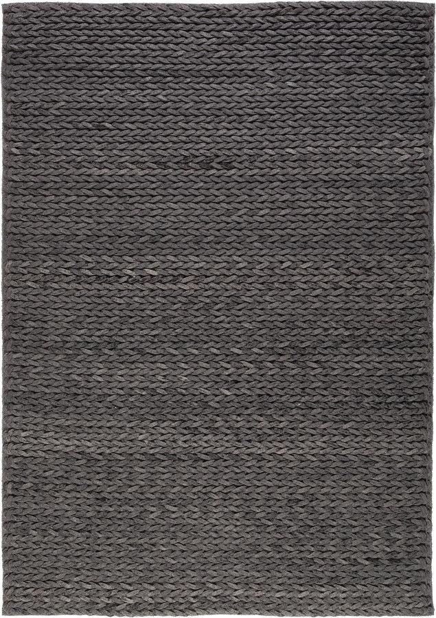 Antracitový vlněný kusový koberec Linea