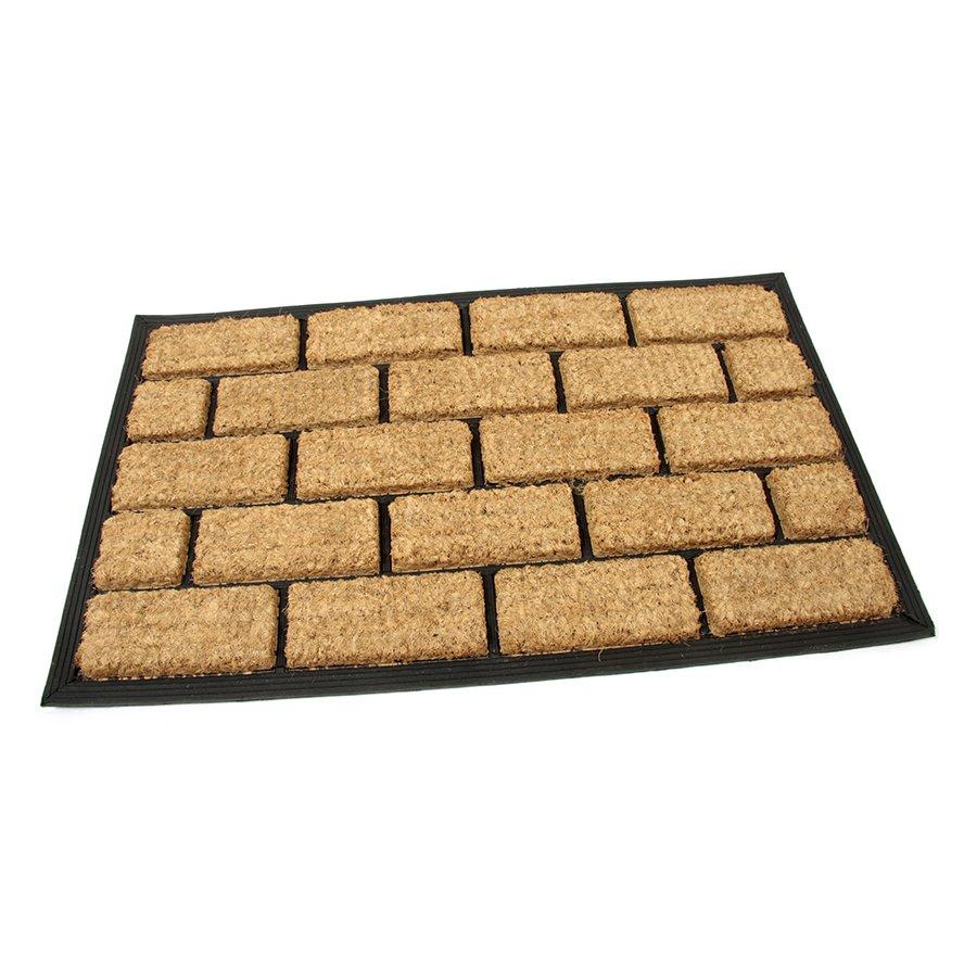 Kokosová čistící venkovní vstupní rohož Rectangle - Bricks, FLOMAT - délka 45 cm, šířka 75 cm a výška 2,2 cm