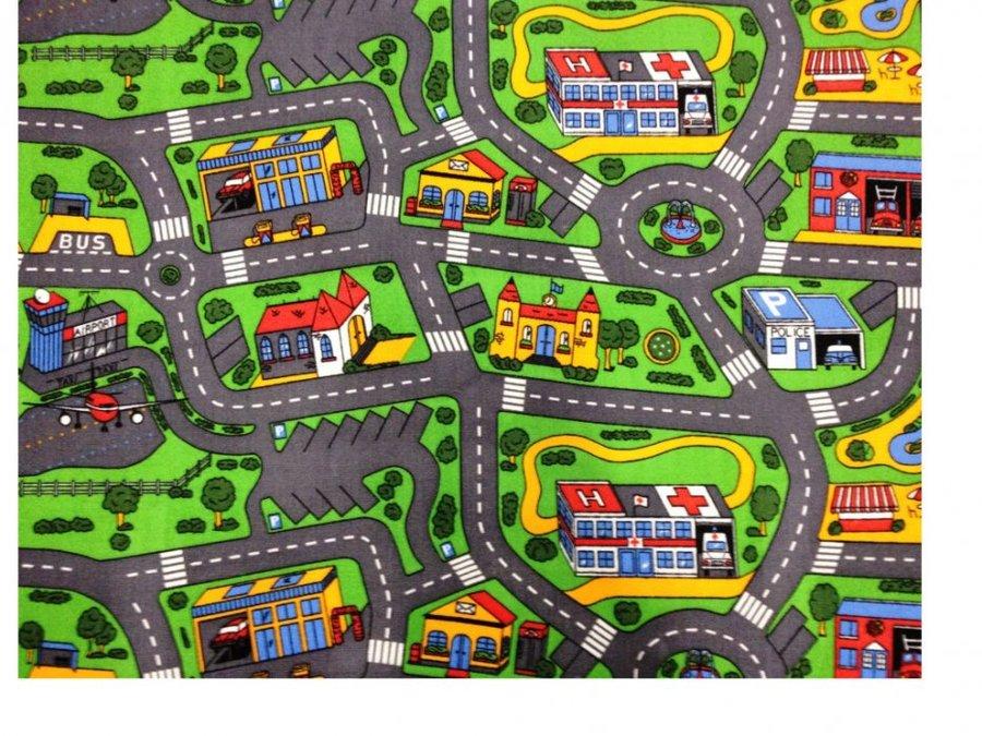 Různobarevný dětský hrací koberec Město