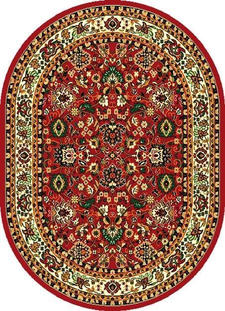 Červený kusový orientální oválný koberec