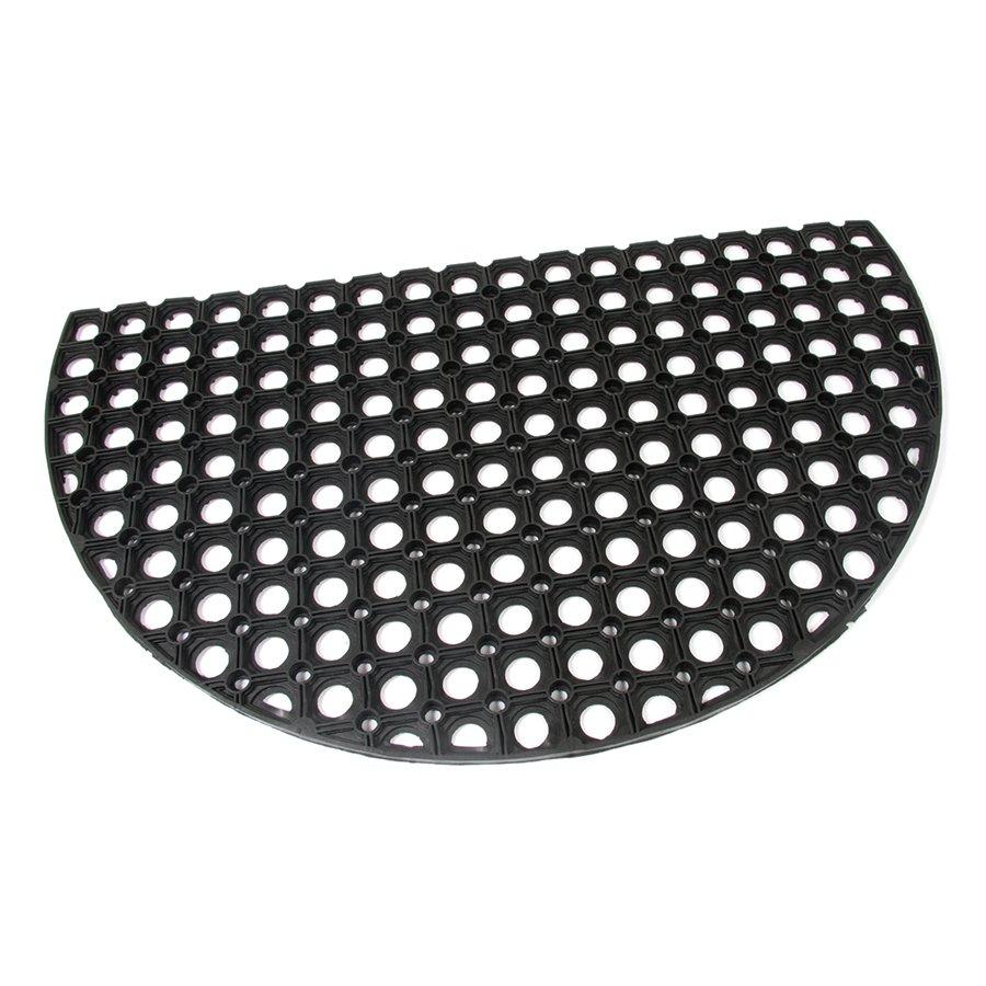 Gumová čistící venkovní vstupní půlkruhová rohož Honeycomb, FLOMAT - délka 75 cm, šířka 45 cm a výška 1,6 cm