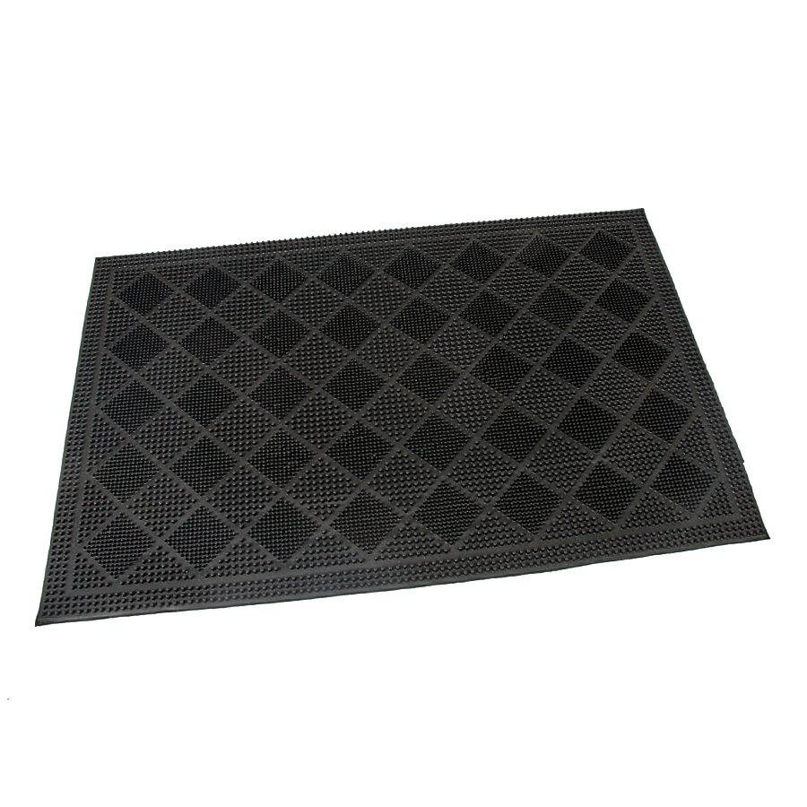 Gumová čistící kartáčová venkovní vstupní rohož Squares, FLOMAT - délka 40 cm, šířka 60 cm a výška 0,7 cm