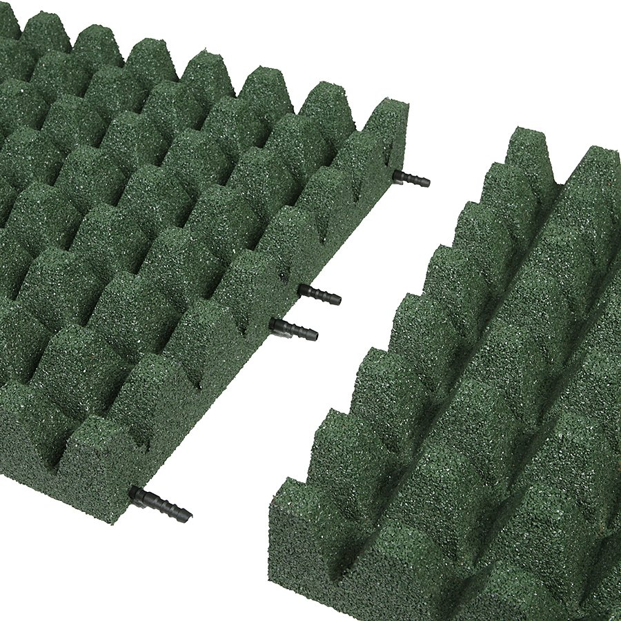 Zelená gumová dlaždice (V80/R50) - délka 100 cm, šířka 100 cm a výška 8 cm