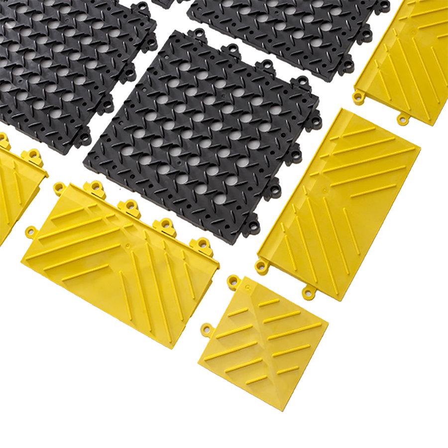 Černá plastová modulární rohož (dlaždice) Diamond Flex Lok - 30 x 30 x 2,5 cm (81716165) FLOMAT