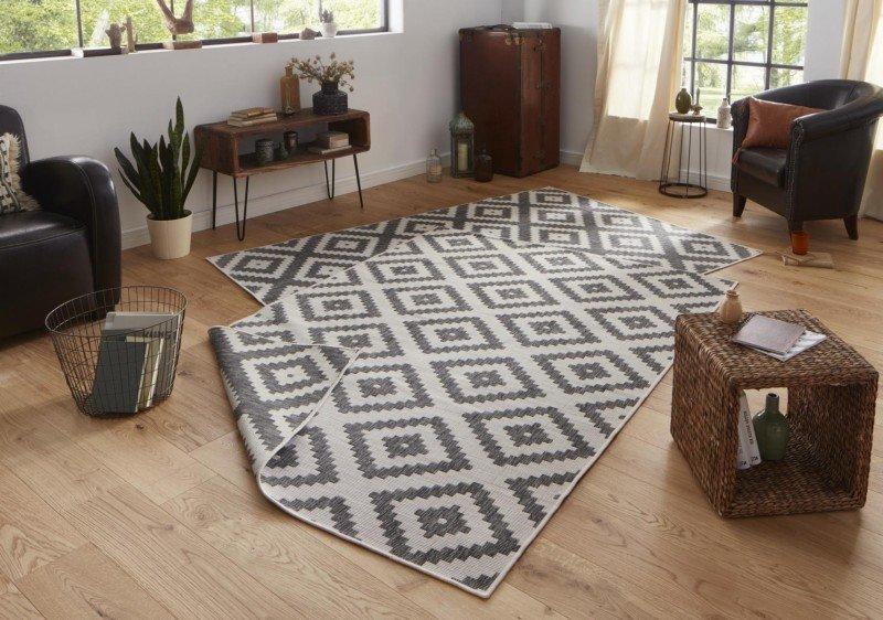 Béžovo-šedý oboustranný moderní koberec běhoun Twin-Wendeteppiche - délka 350 cm a šířka 80 cm