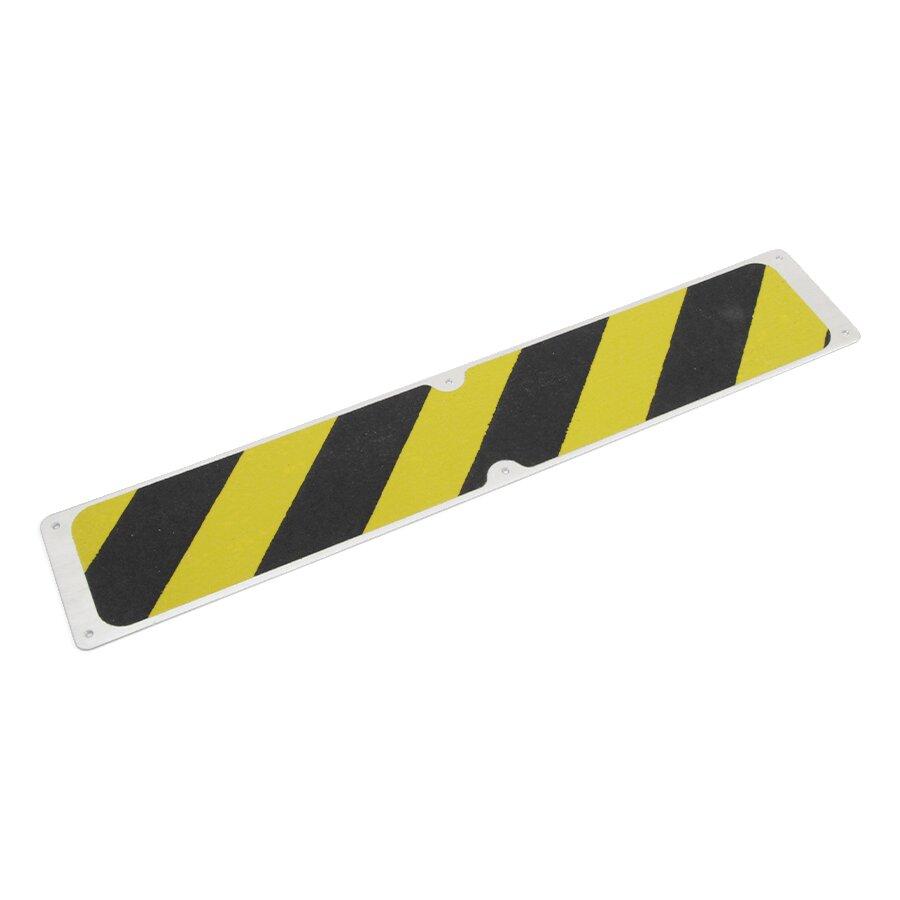 Černo-žlutý hliníkový protiskluzový nášlap na schody - 63,5 x 11,5 cm