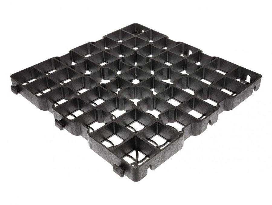 Černá plastová zátěžová zatravňovací dlažba - délka 50 m, šířka 50 cm a výška 4 cm