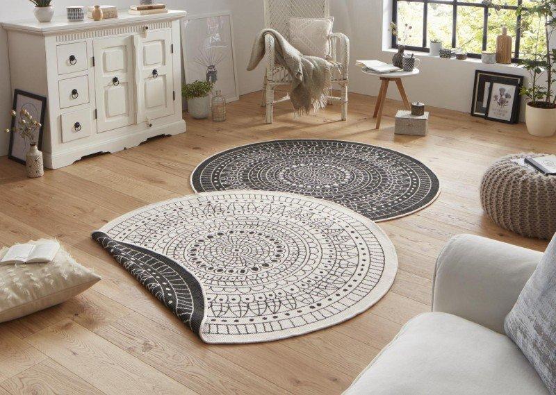 Kusový oboustranný moderní kulatý koberec Twin-Wendeteppiche