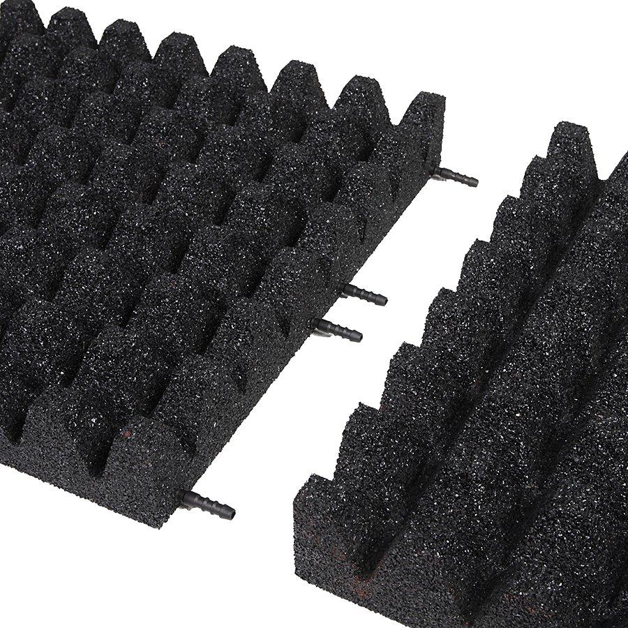 Černá gumová dlaždice (V80/R50) - délka 50 cm, šířka 50 cm a výška 8 cm