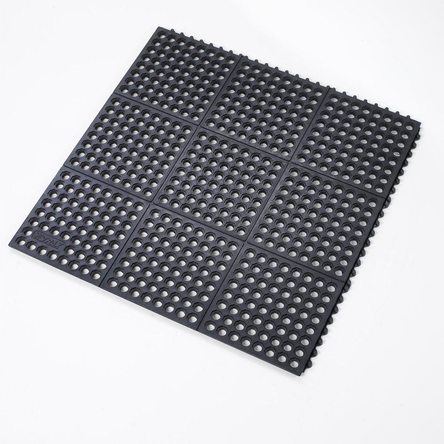 Černá gumová modulární průmyslová protiúnavová olejivzdorná rohož (100% nitrilová pryž) - délka 91 cm, šířka 91 cm a výška 1,9 cm