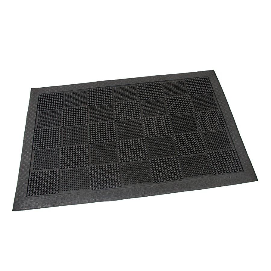 Gumová čistící kartáčová venkovní vstupní rohož Pin Squares, FLOMAT - délka 40 cm, šířka 60 cm a výška 0,7 cm
