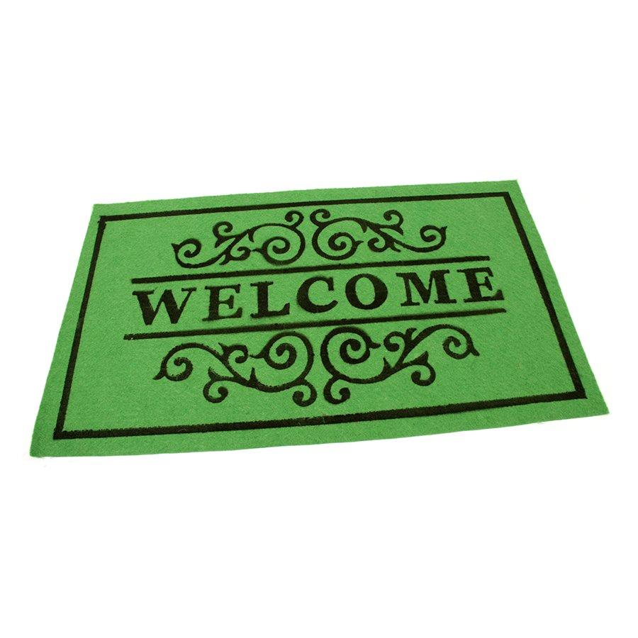 Zelená textilní vstupní čistící vnitřní rohož Welcome - Deco, FLOMA - délka 45 cm, šířka 75 cm a výška 0,3 cm