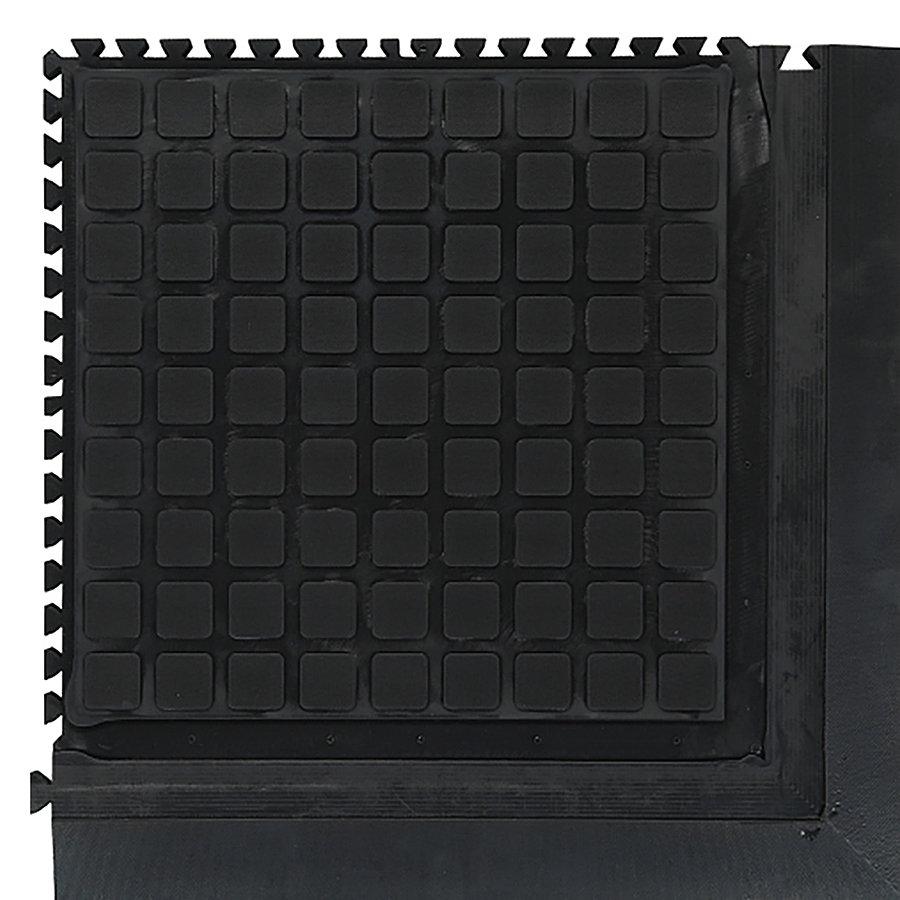 Černá podlahová protiúnavová protiskluzová modulová rohož (roh) - délka 55 cm, šířka 55 cm a výška 2 cm