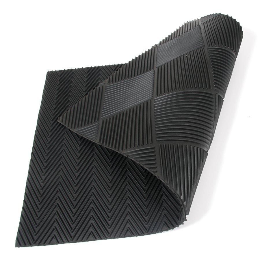 Gumová vstupní venkovní oboustranná čistící rohož Double Side, FLOMAT - délka 75 cm, šířka 45 cm a výška 1 cm
