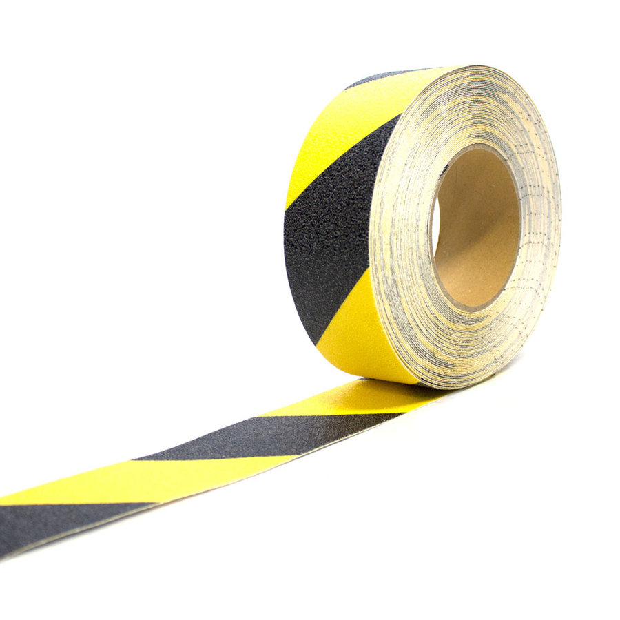 Černo-žlutá korundová protiskluzová páska - délka 18,3 m a šířka 5 cm