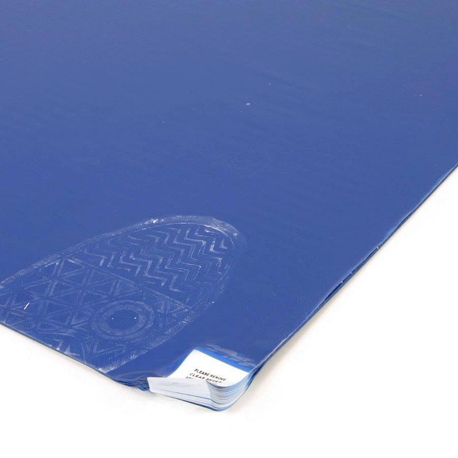 Modrá lepící dezinfekční dekontaminační rohož Sticky Mat, FLOMA - délka 45 cm a šířka 115 cm - 60 listů