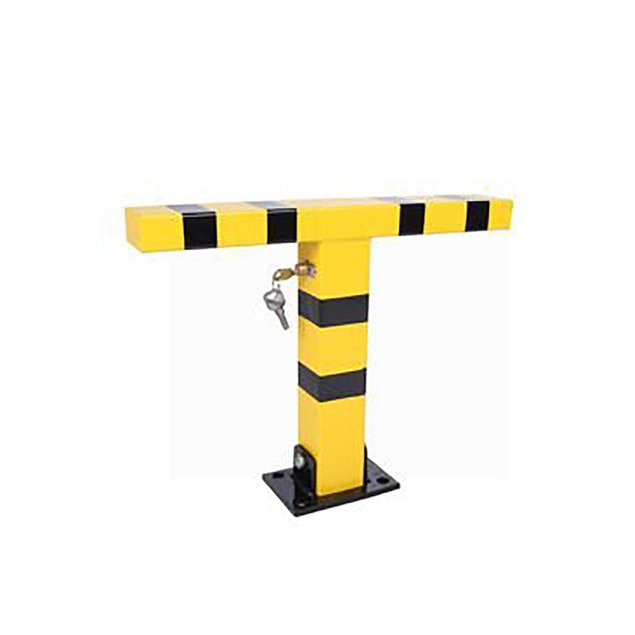 Ocelová sklopná parkovací zábrana (tvar T) - šířka 49,5 cm a výška 49,5 cm