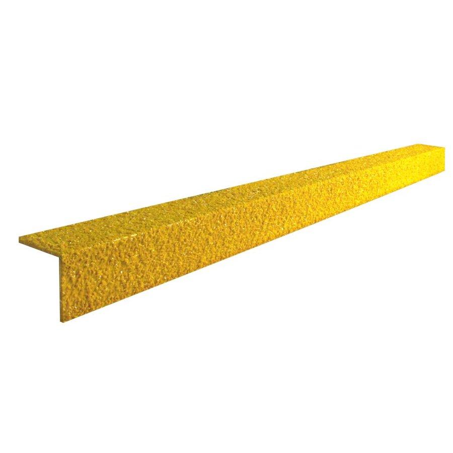 Žlutá karborundová schodová hrana - šířka 5,5 cm, výška 5,5 cm a tloušťka 0,5 cm