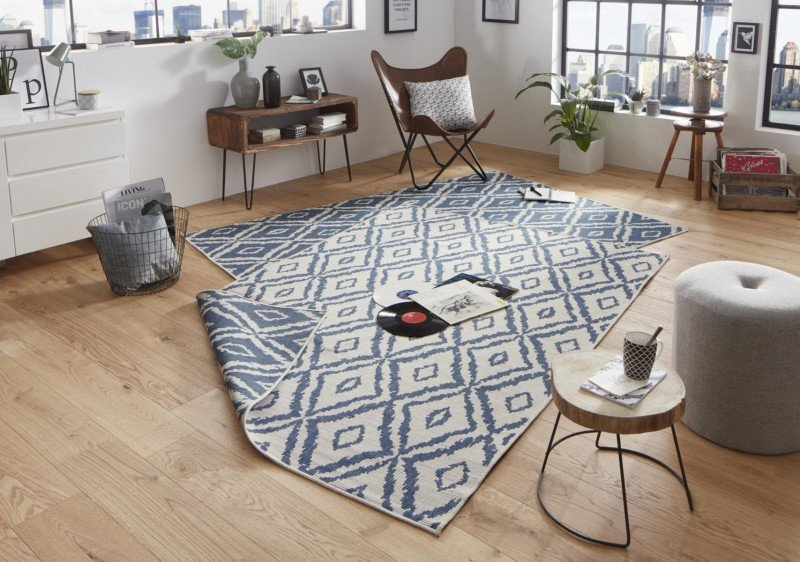 Modrý moderní oboustranný kusový koberec Twin-Wendeteppiche - délka 290 cm a šířka 200 cm