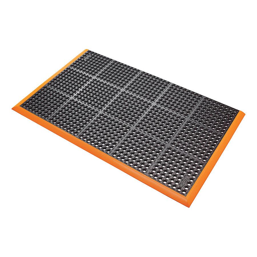 Černo-oranžová extra odolná průmyslová olejivzdorná rohož (100% nitrilová pryž) Safety Stance - délka 102 cm, šířka 66 cm a výška 2,2 cm