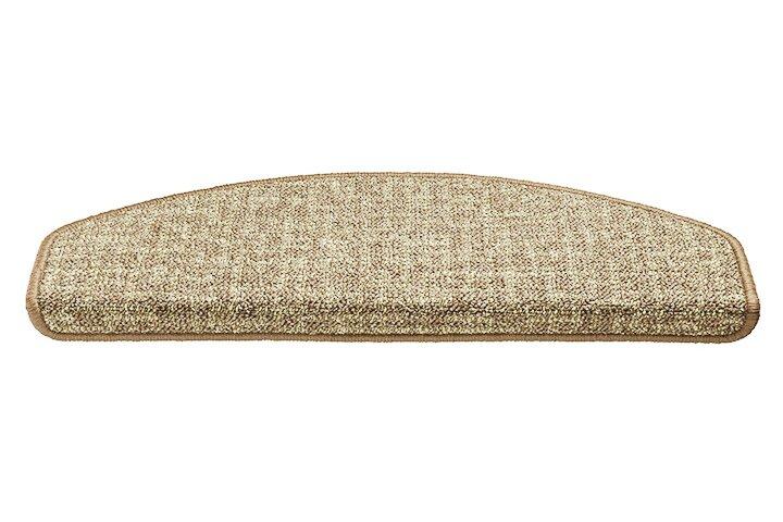Béžový kobercový půlkruhový nášlap na schody Imola - délka 56 cm a šířka 17 cm