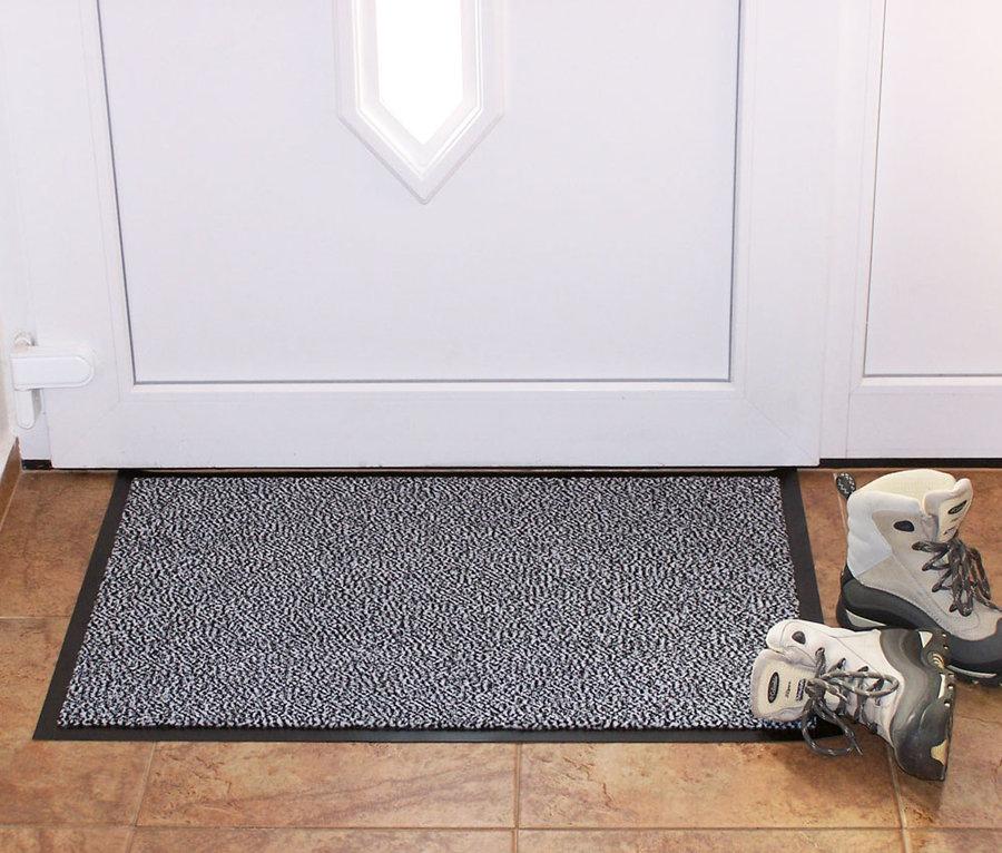 Šedá textilní vstupní vnitřní čistící rohož - délka 60 cm, šířka 80 cm a výška 0,7 cm