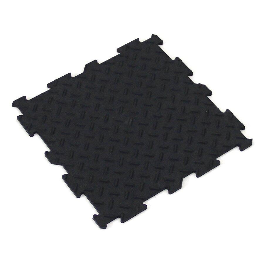 Černá gumová puzzle terasová dlažba FLOMA Alpha Tile - 30 x 30 x 0,7 cm - 10 ks
