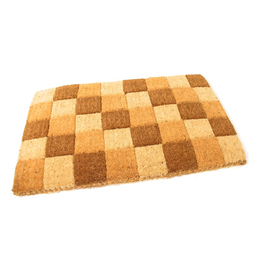 Kokosová čistící venkovní vstupní rohož Squares, FLOMAT - délka 75 cm, šířka 45 cm a výška 4,7 cm