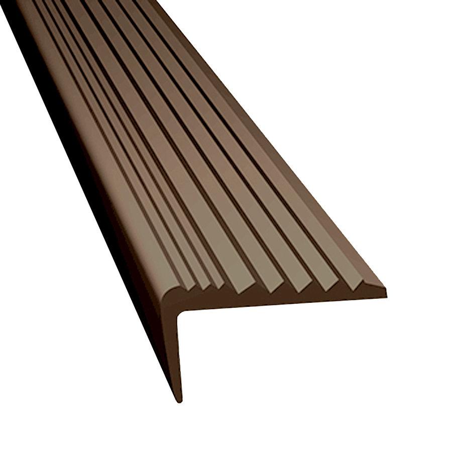 Hnědá gumová protiskluzová schodová hrana - délka 5 m, šířka 4,7 cm a výška 2,1 cm