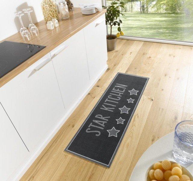 Černá moderní kusová kuchyňská bytová předložka Cook & Clean - délka 150 cm a šířka 50 cm
