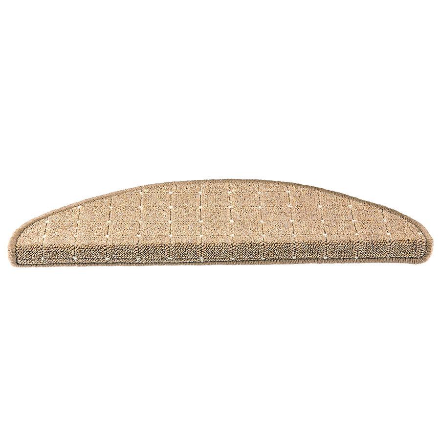 Hnědý kobercový půlkruhový nášlap na schody Udinese - délka 65 cm a šířka 24 cm