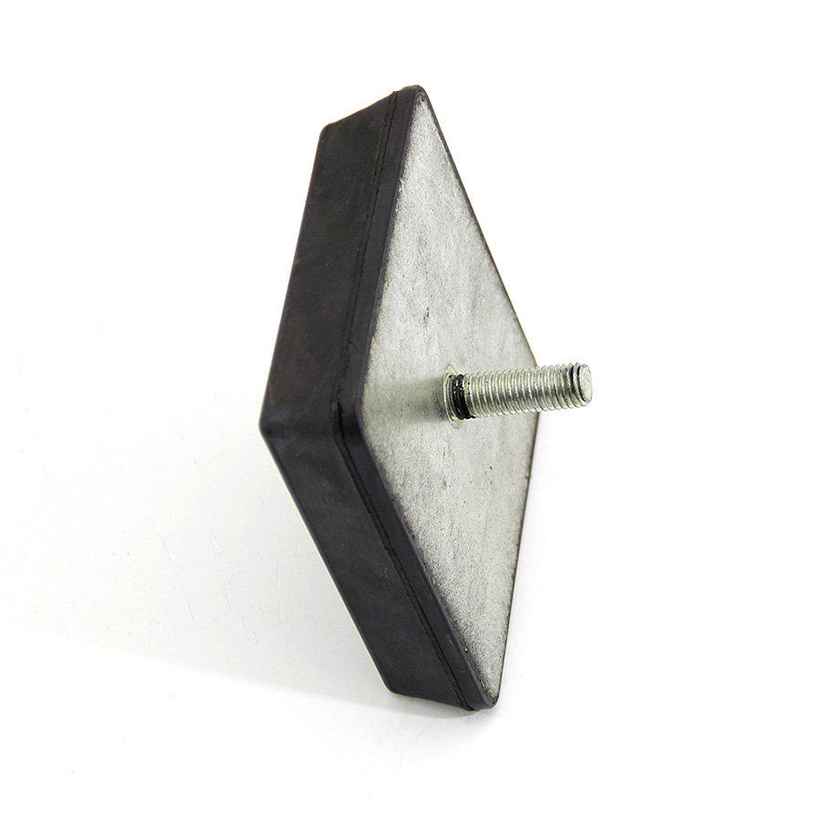 Černý pryžový doraz tvaru komolého jehlanu se šroubem FLOMA - délka 12 cm, šířka 12 cm a výška 3 cm