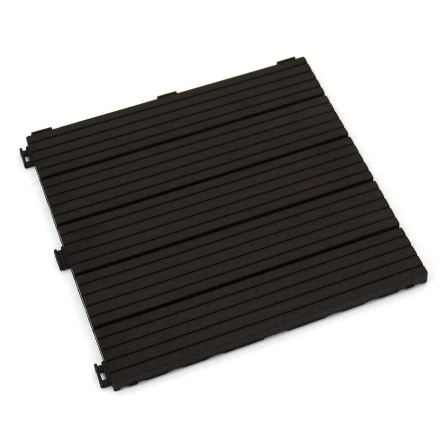 Hnědá gumová terasová dlažba FLOMA Cosmopolitan - 30 x 30 x 1,5 cm