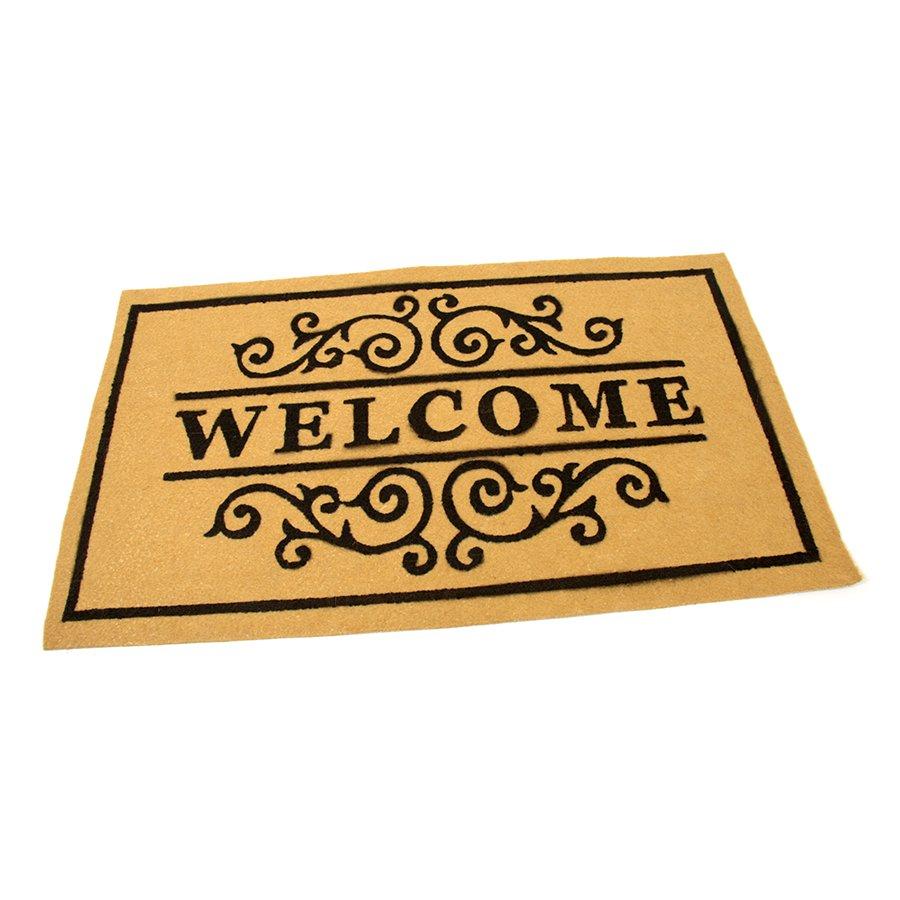 Žlutá textilní vstupní čistící vnitřní rohož Welcome - Deco, FLOMAT - délka 45 cm, šířka 75 cm a výška 0,3 cm