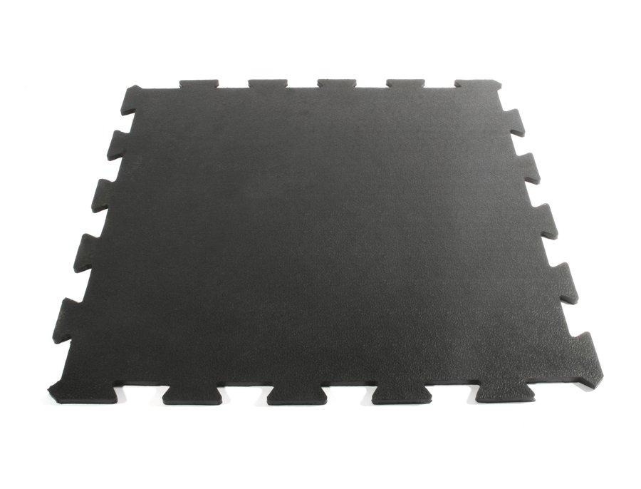 Černá gumová fitness průběžná modulární podlaha Sport Tile - délka 61 cm, šířka 61 cm a výška 1 cm