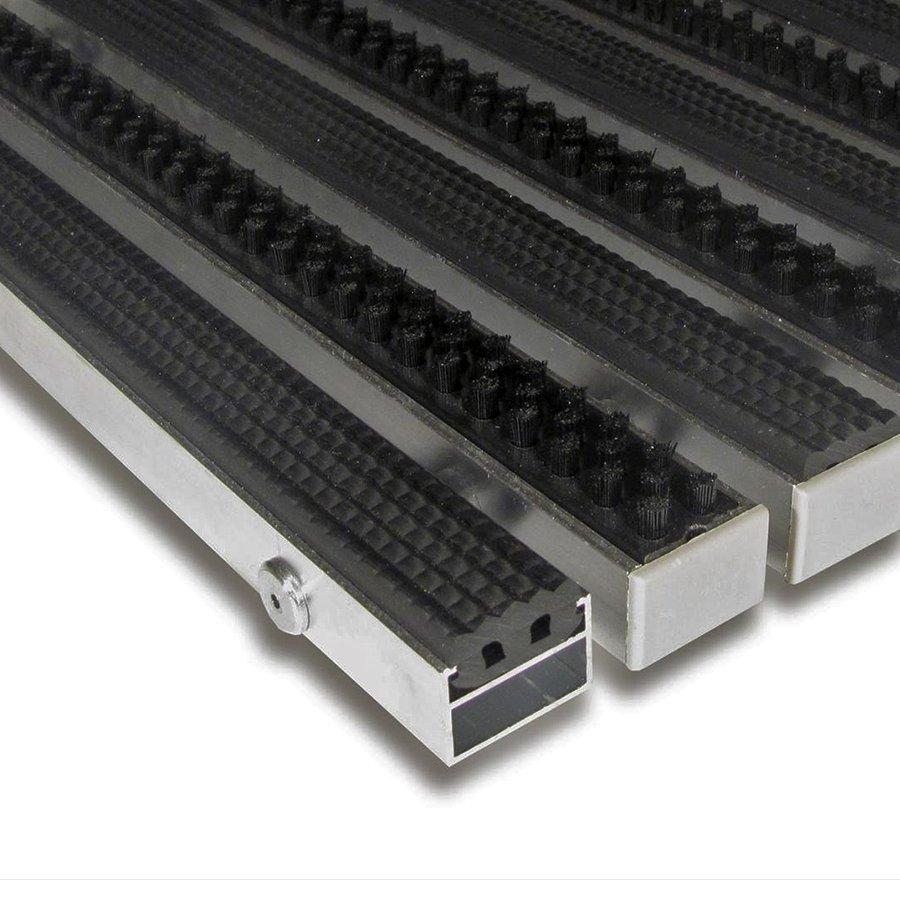 Gumová hliníková kartáčová venkovní vstupní rohož Alu Extra, FLOMA - délka 1 cm, šířka 1 cm a výška 1,7 cm