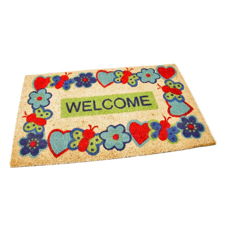 Kokosová čistící venkovní vstupní rohož Welcome - Cheerful, FLOMAT - délka 75 cm, šířka 45 cm a výška 1,7 cm