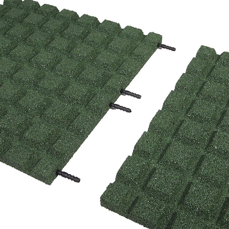 Zelená gumová dlaždice (V30/R15) - délka 50 cm, šířka 50 cm a výška 3 cm