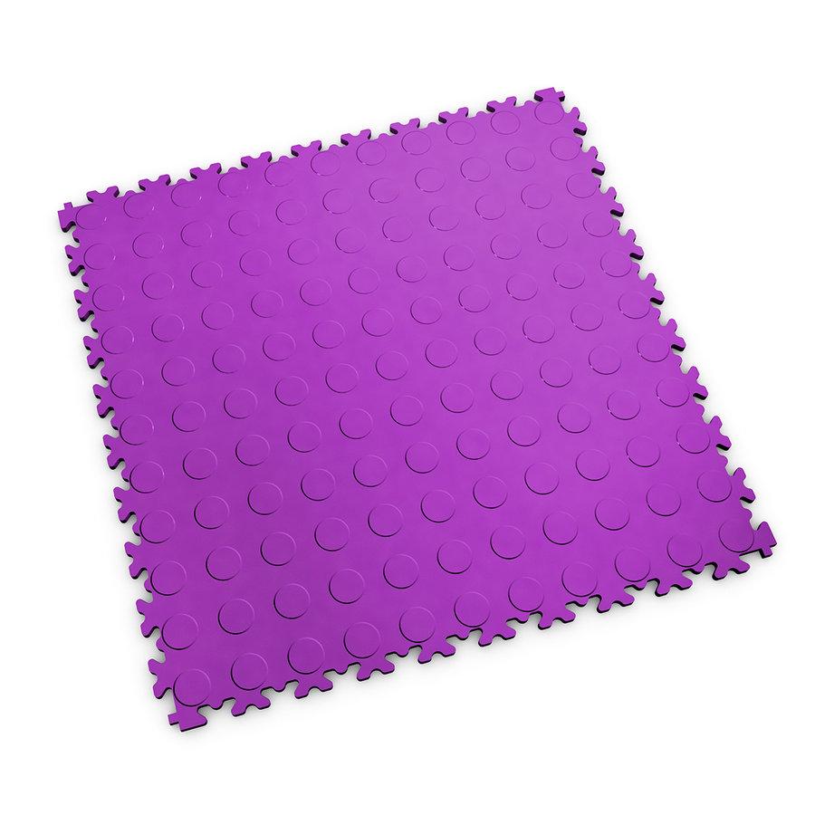 Fialová plastová vinylová zátěžová dlaždice Industry 2040 (penízky), Fortelock - délka 51 cm, šířka 51 cm a výška 0,7 cm
